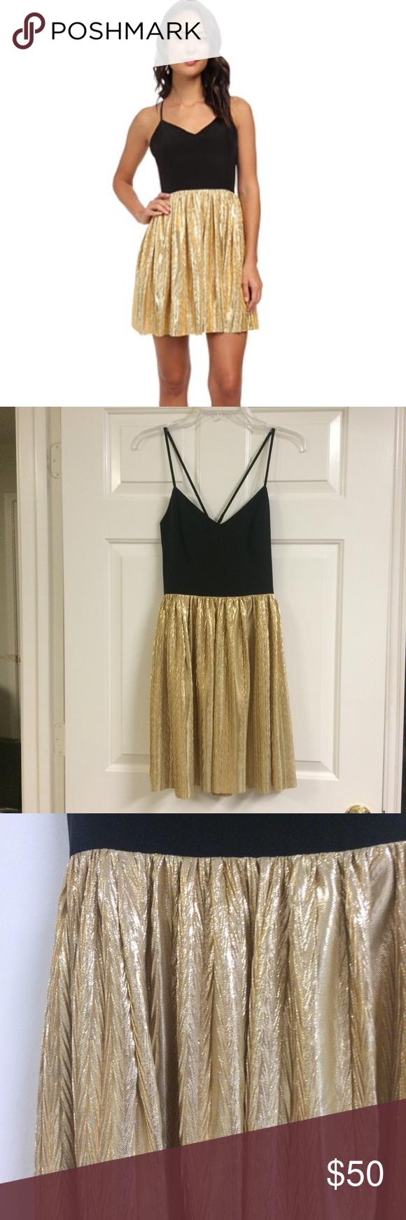 Amanda Uprichard Golden Pleated Dress Brand new with tag! Silk!! Size small petite Amanda Uprichard Dresses