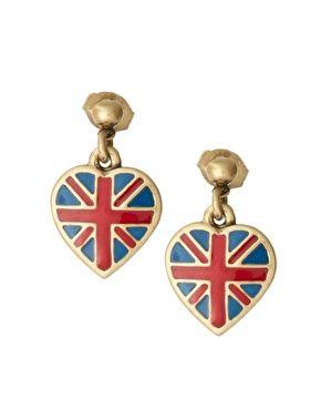 Cath Kidston Antique Br Tiny Union Jack Drop Earrings