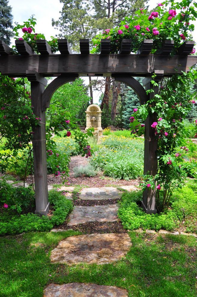 Garden structures ideas landscape traditional with stepping stones ...