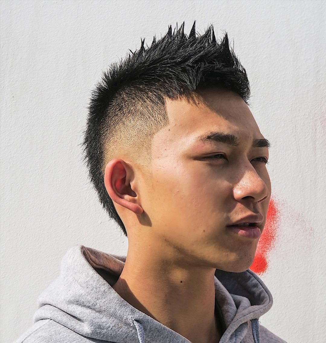 A Spiky Faux Hawk With Burst Faded Hairstyles For Chinese Man