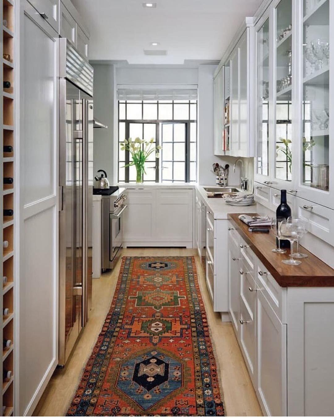 """Becki Owens on Instagram """"Such a pretty galley kitchen. We ..."""