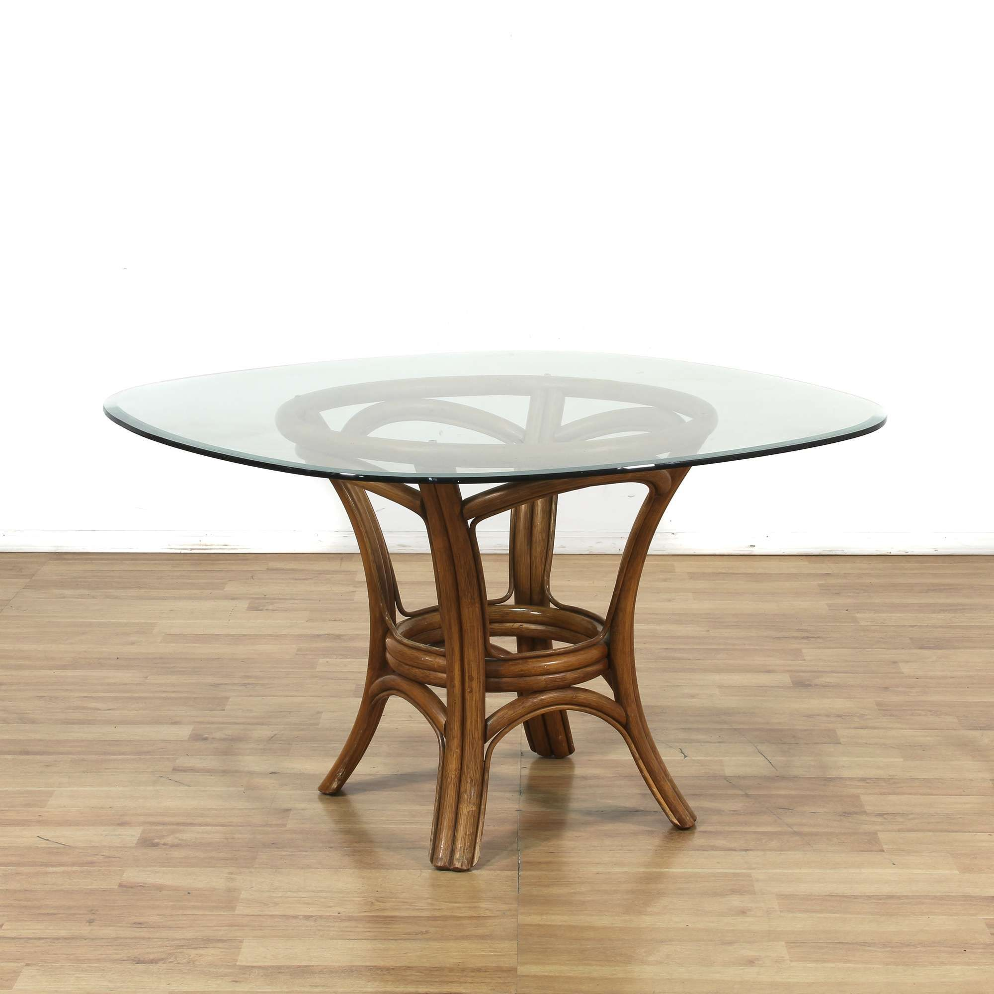 Rattan Bamboo Round Dining Table W Glass Top Loveseat Vintage Round Dining Table Dining Table Round Dining