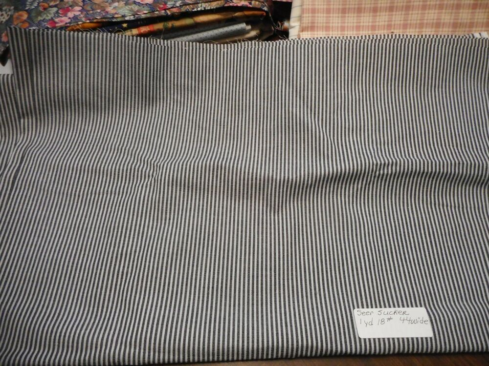 Vintage Seersucker Cotton Fabric Material Black White Stripe