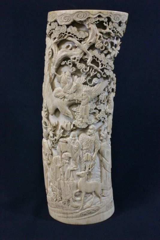 """Chinese 19th century ivory carved brush holder (13.5""""L) carved with fairy tale scene in high relief and reticulated style (minor loss, no bottom), a beautiful example, NO INTERNATIONAL SHIPPING OF IVORY"""