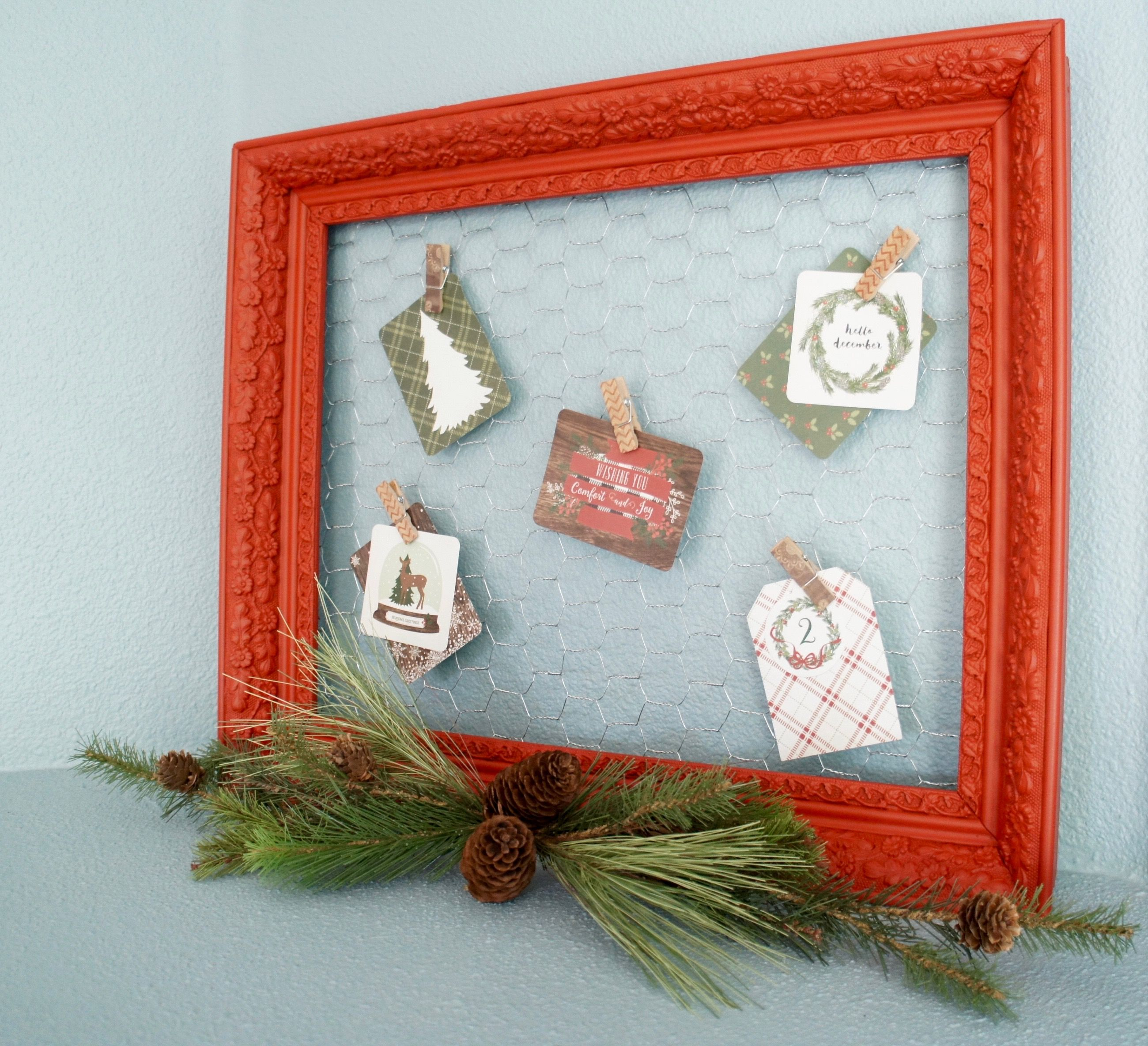 Red Vintage Frame With Chicken Wire Holiday Card Holder