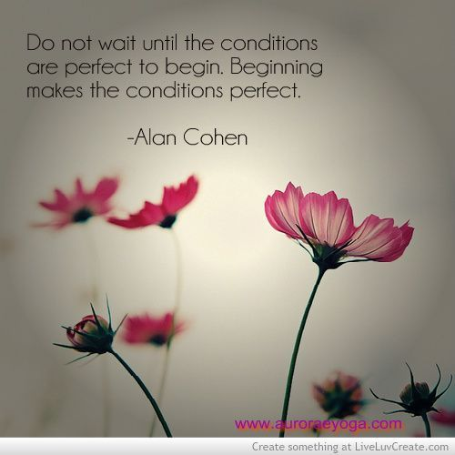 Do not wait until the conditions are perfect to begin. Beginning makes the conditions perfect. - Alan Cohen #Quotes #Quote