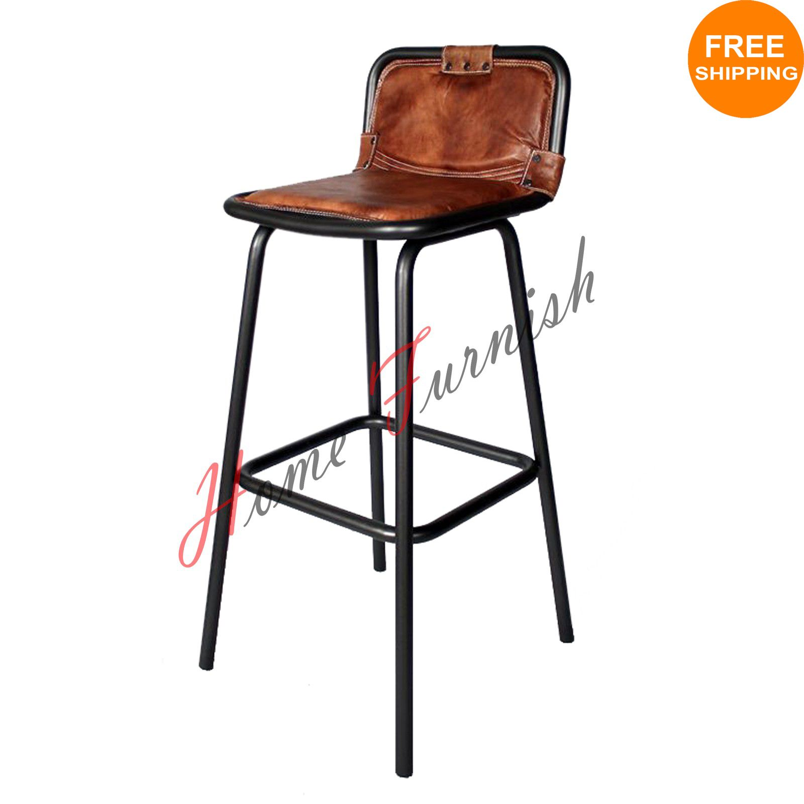 Industrial Bar Stool Leather Seat With Back Brown Leather