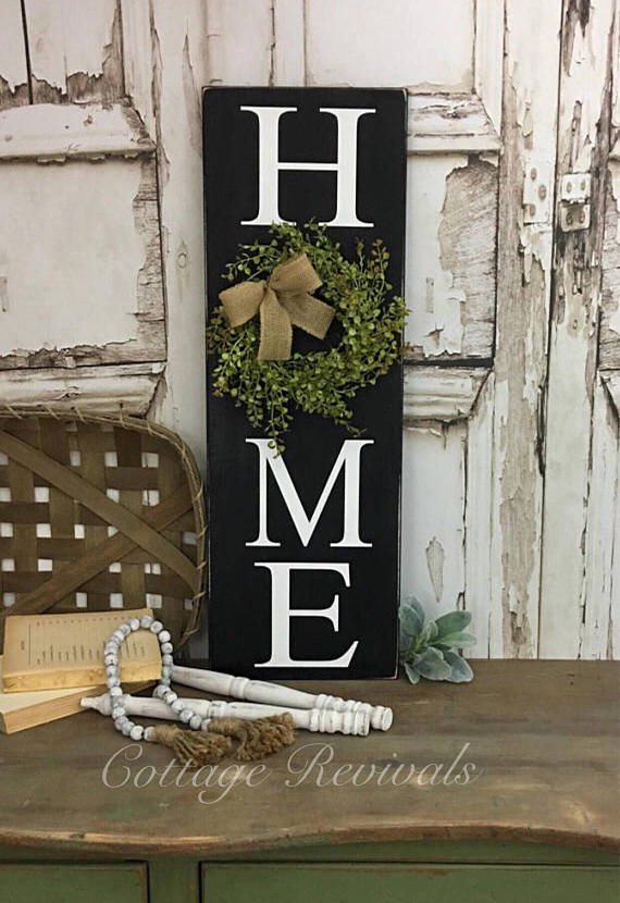 51f2bd6b93ccb Vertical HOME sign 10x30 Black Vertical Home Sign with Wreath Sign ...