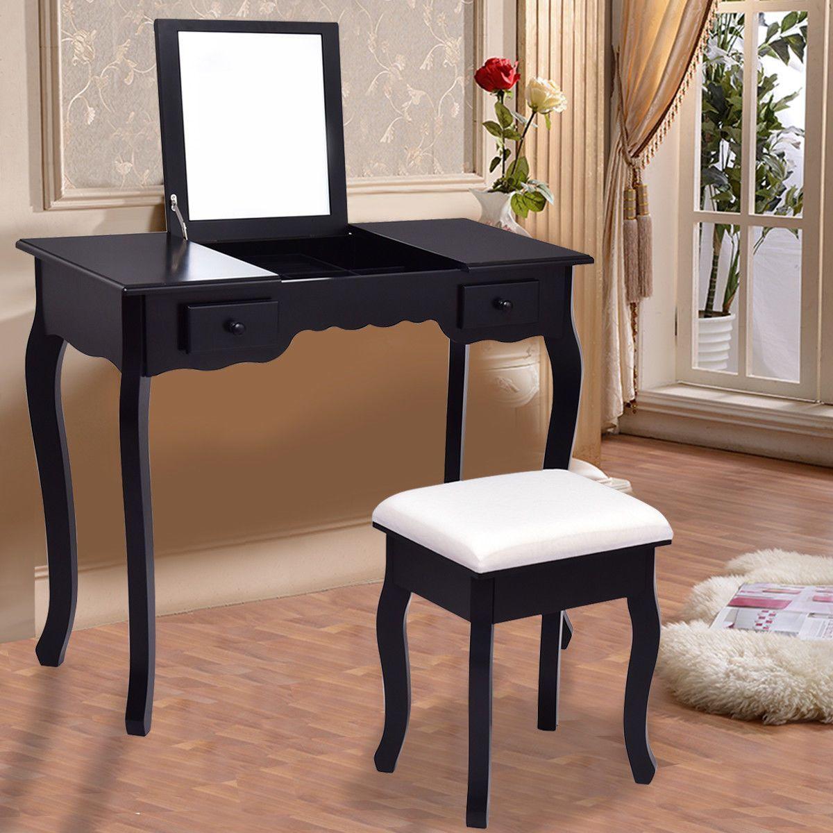 Best Giantex Modern Vanity Dressing Table Set Mirrored Bathroom 400 x 300