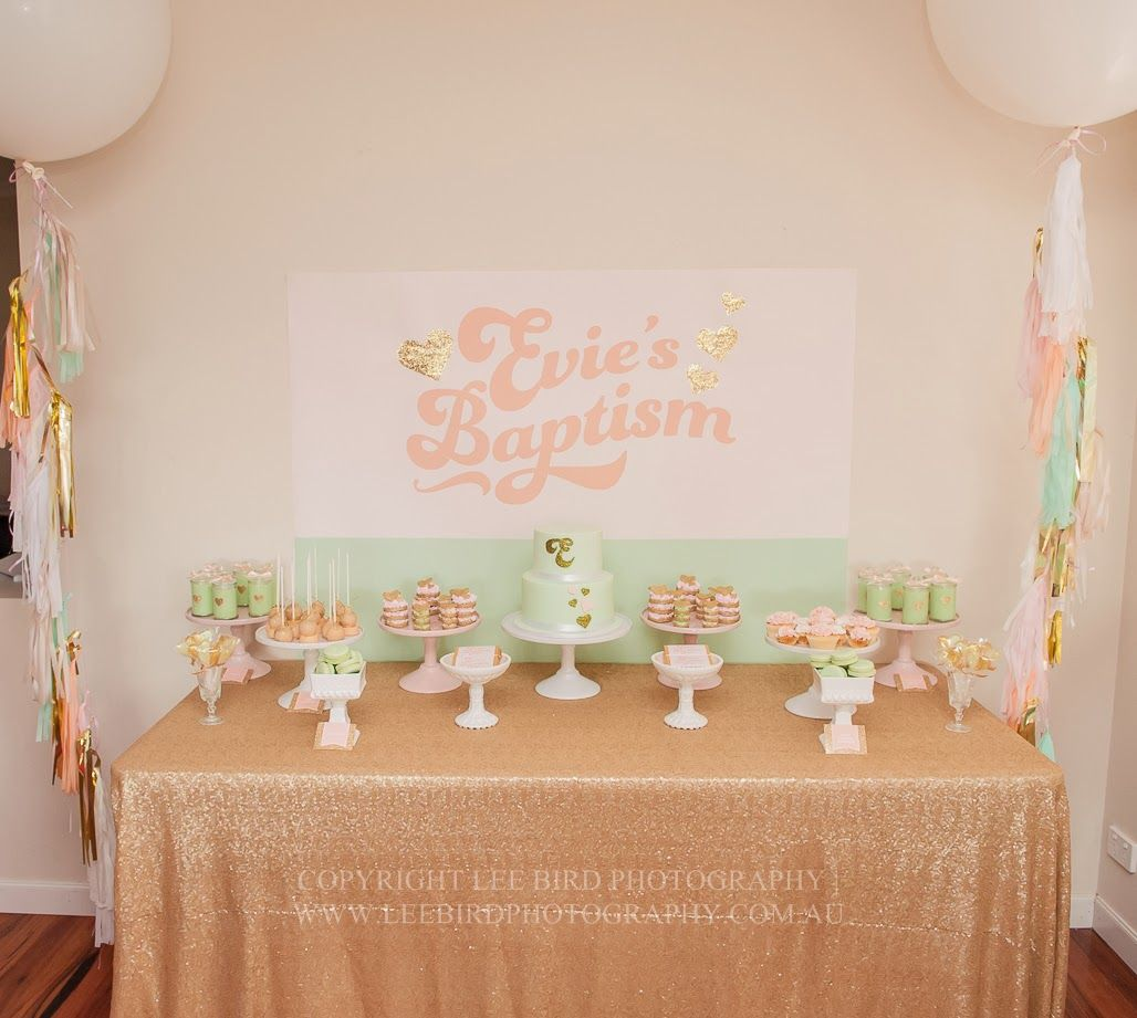 Mint peach and gold glitter baptism by lola and co party - Lola decoracion ...