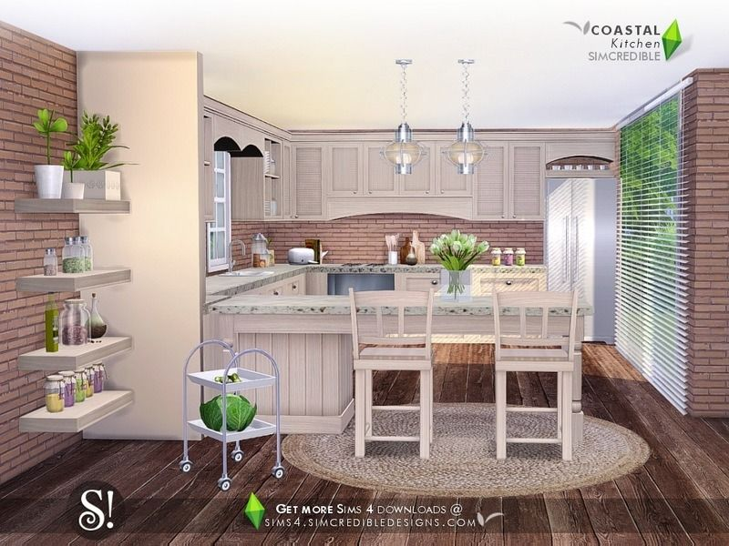 Created By Simcredible Coastal Kitchen Created For The Sims 4 It S Time To Cook In Nautical Style Bringing The Kit Sims 4 Kitchen Sims House Coastal Kitchen