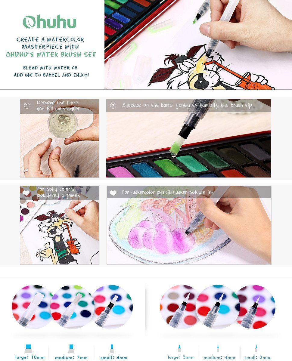 Ohuhu Watercolor Brush Pen Set Of 6 Refillable Coloring Brush