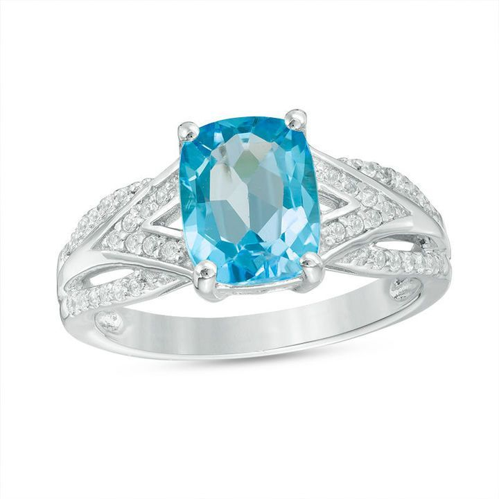 Zales Cushion-Cut Lab-Created Opal with White Topaz Layered Split Shank Ring in Sterling Silver g4R3KVT