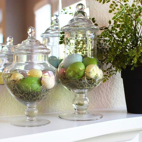 Happy easter spring mantel decor with egg filled apothecary jars