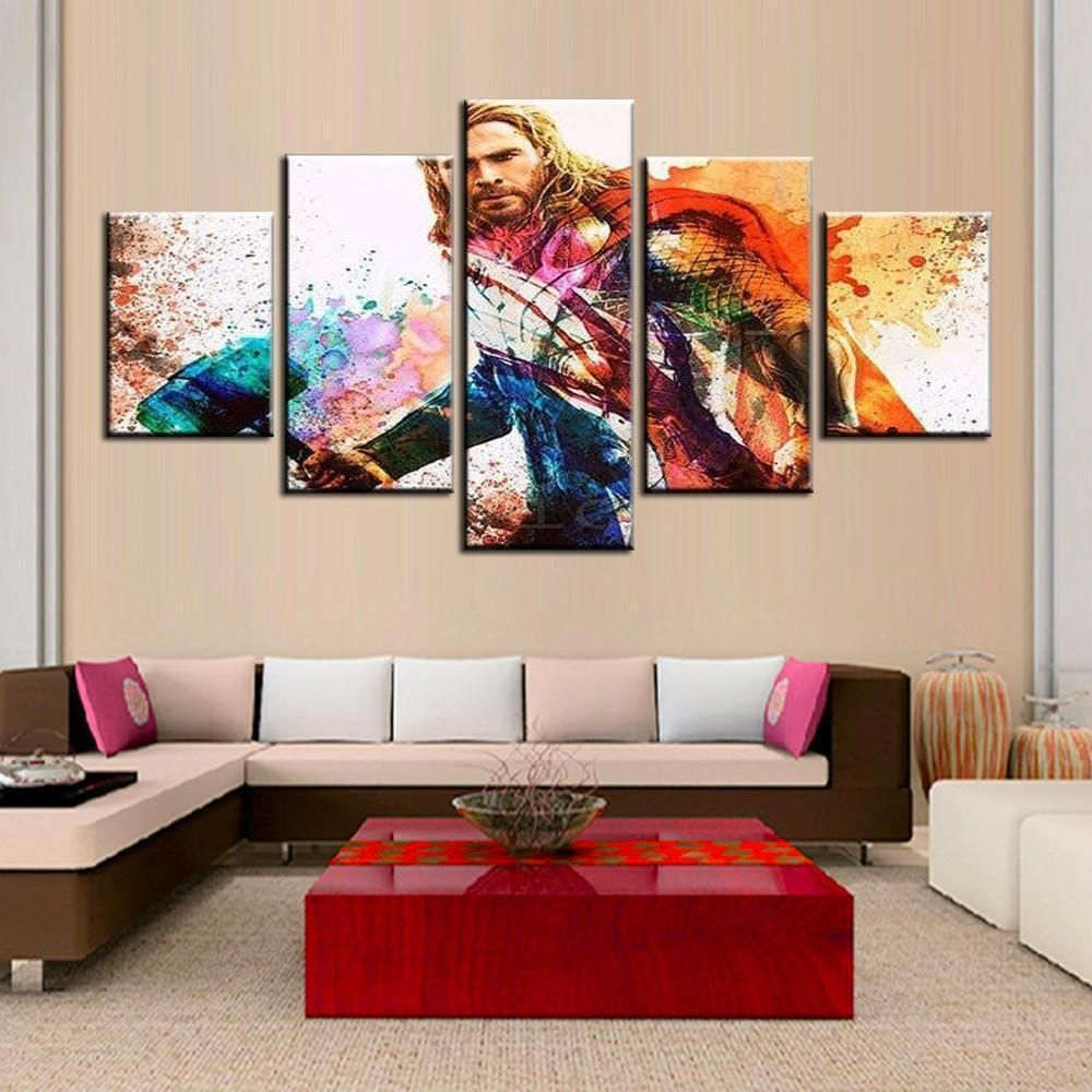 Unframed Colourful Thor In Landscape Movie Canvas Wall Art In 2020 Canvas Wall Art Wall Art Canvas