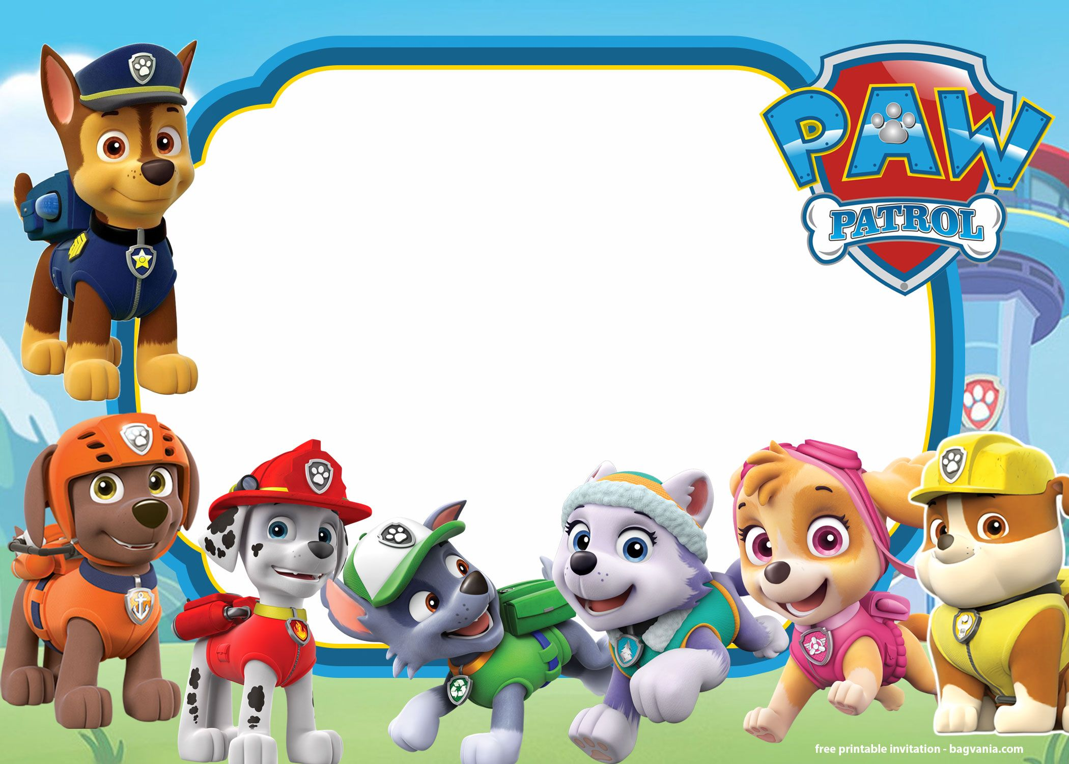 Free Printable Paw Patrol Invitation Templates Lookout Version Paw Patrol Party Invitations Paw Patrol Birthday Invitations Paw Patrol Invitations