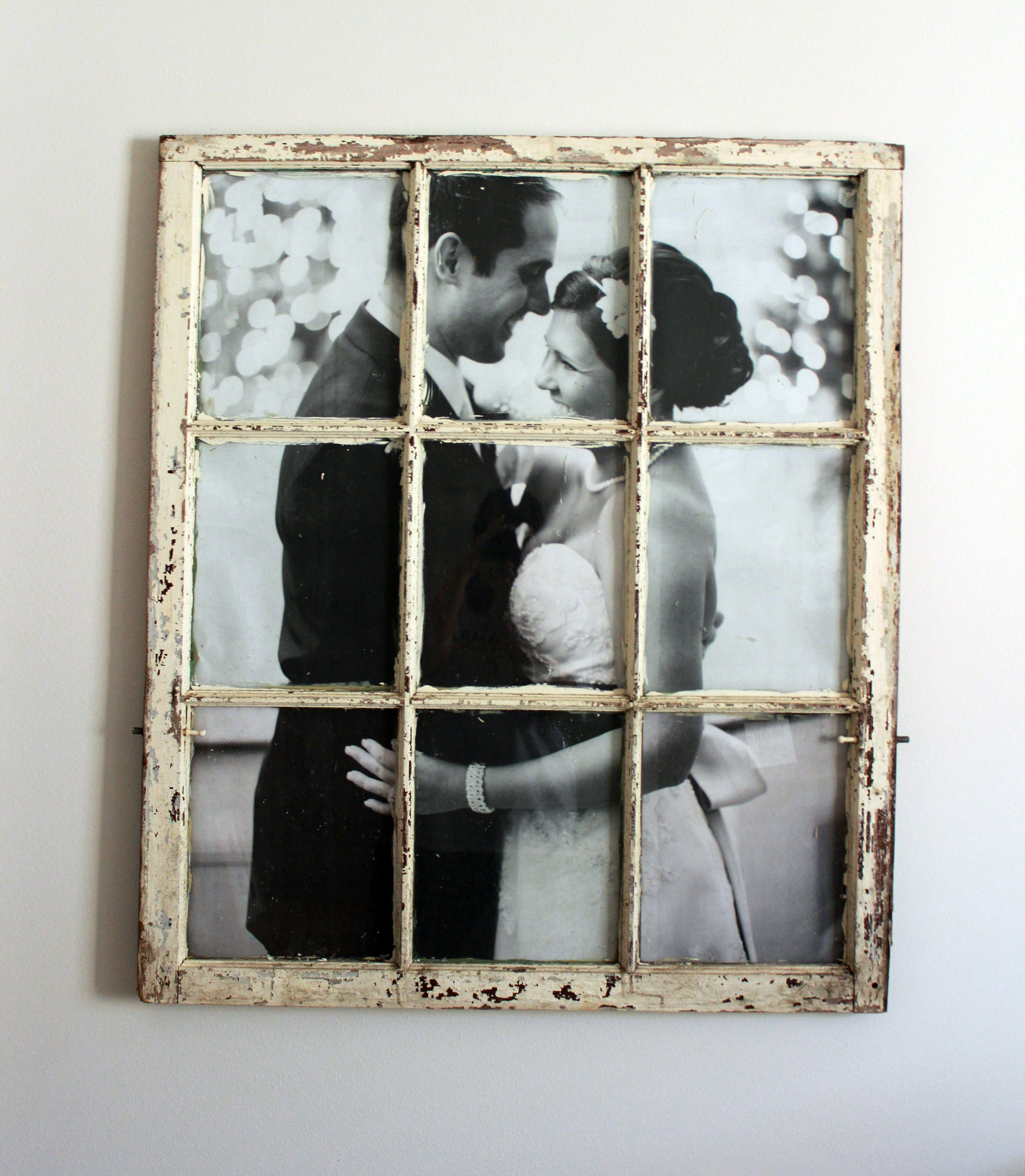 Old Window Frame Decor How To Frame A Wedding Picture In An Old Window You Will Cut