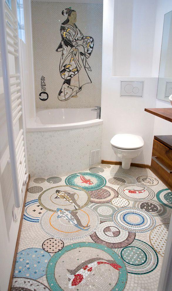 Salle de bains mosa que motif poissons koi d co for Grossiste carpe koi