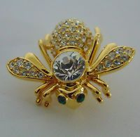 JOAN RIVERS Pave Crystal Clear Sim Diamond BEE PIN Large Brooch April Birthstone