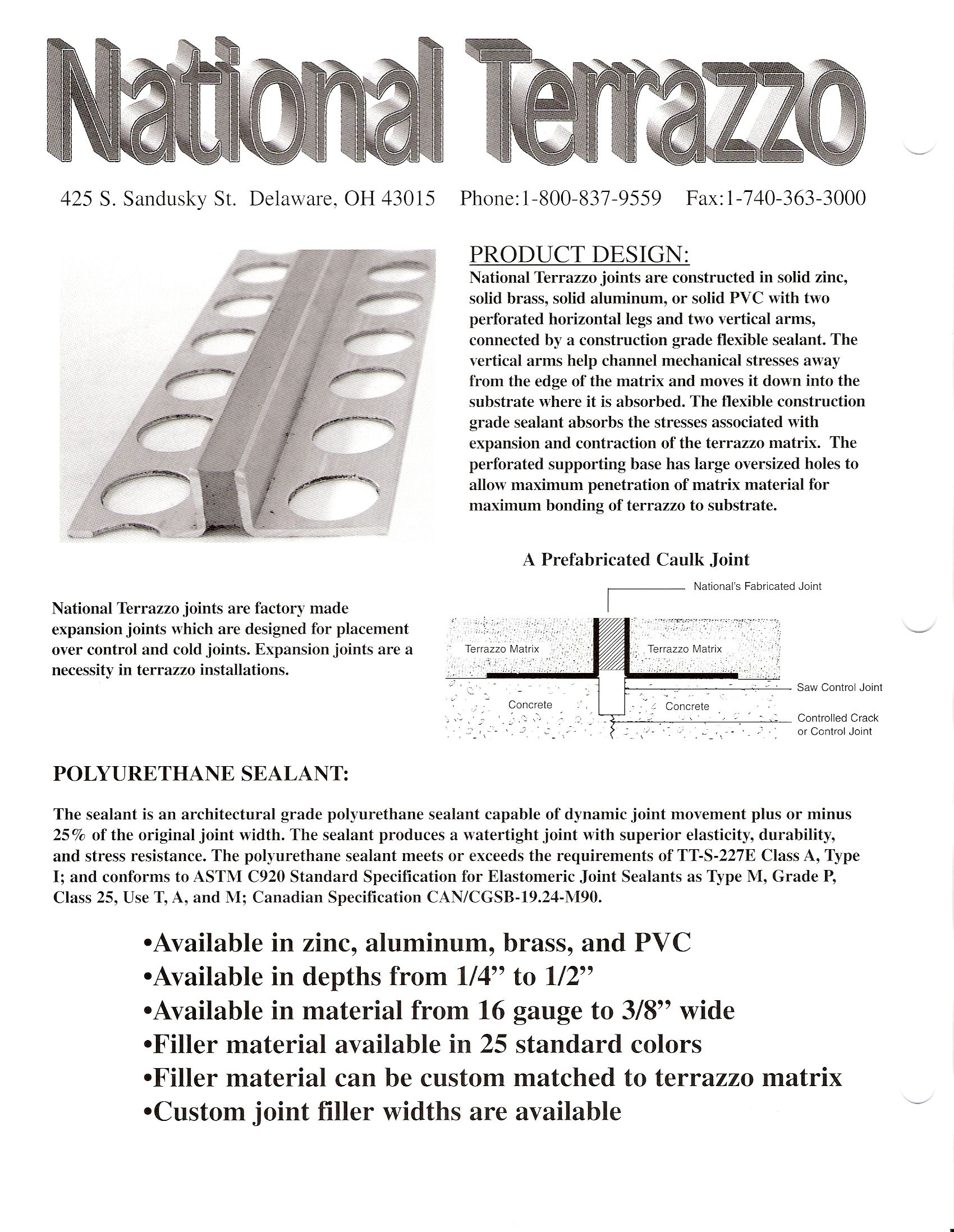 Terrazzo Expansion Joints Data Sheet Terrazzo Expansion