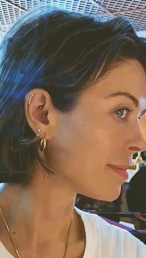 Yellow Gold Diamond Crescent Piercing Stud - LENA COHEN