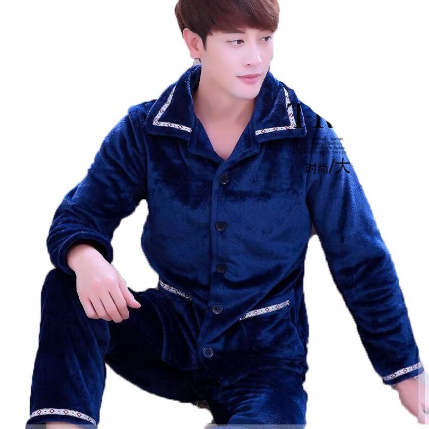 7ecec027f07f Men s Sleepwear Autumn Winter Thickening Warm Flannel Men Pajama Sets  Loungewear Comfortable Coral Fleece Pyjama Homme Tracksuit.