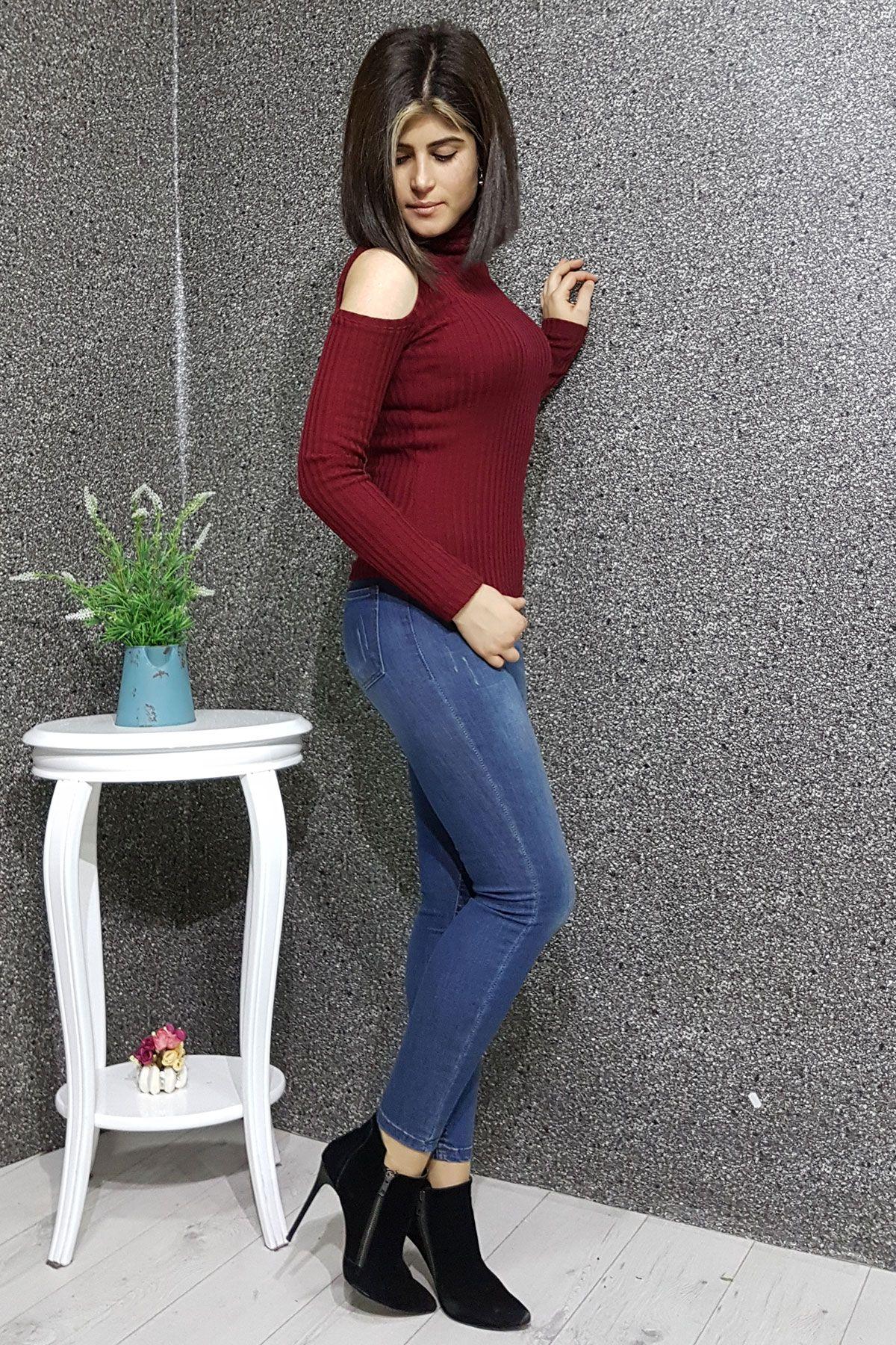 Kesik Kol Bogazli Bayan Kazak Moda Stilleri Kadin Giyim Giyim