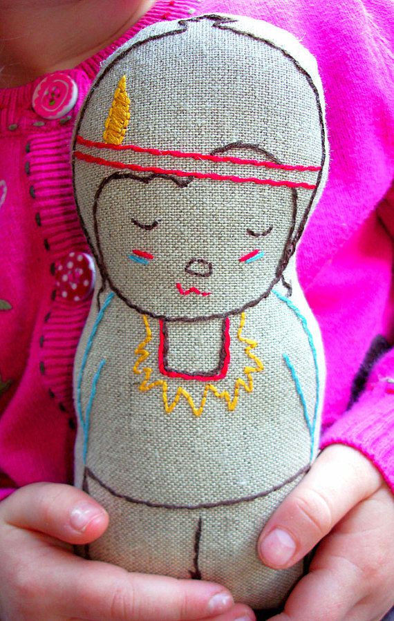 Noah Native American Indian Boy Linen Doll Plush Toy Stuufed Toy