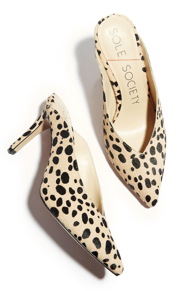 42a45d3b9c43 Cheetah mule pump with stiletto heel