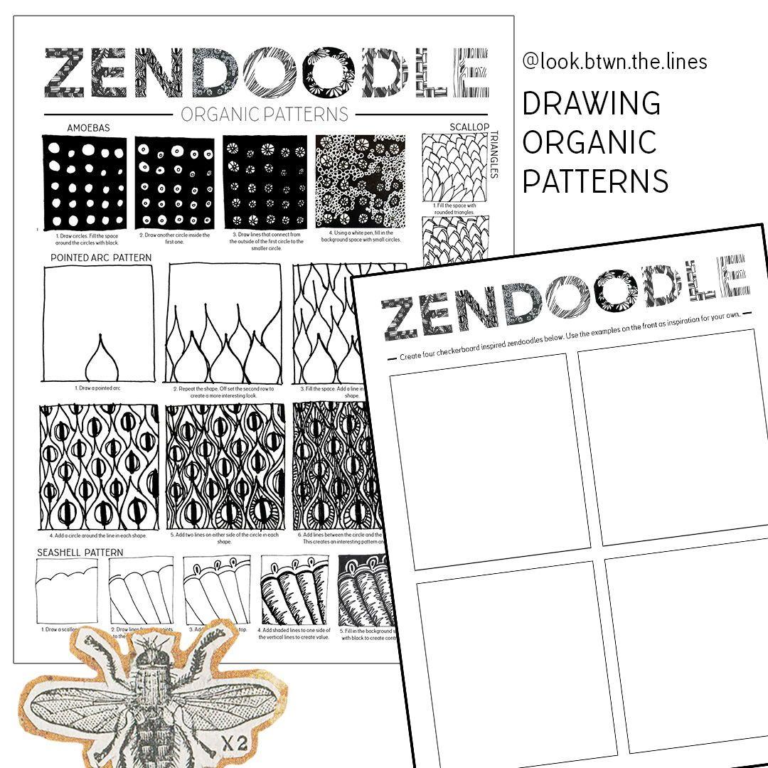 Zendoodle Printable Visual Art Worksheet How To Create Organic