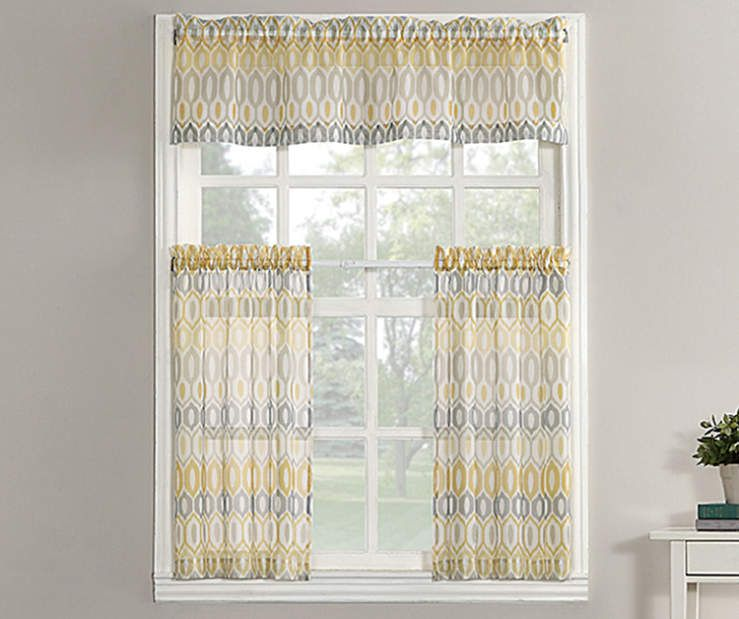 Living Colors Valerie Yellow Kitchen Tier Valance 3 Piece Set