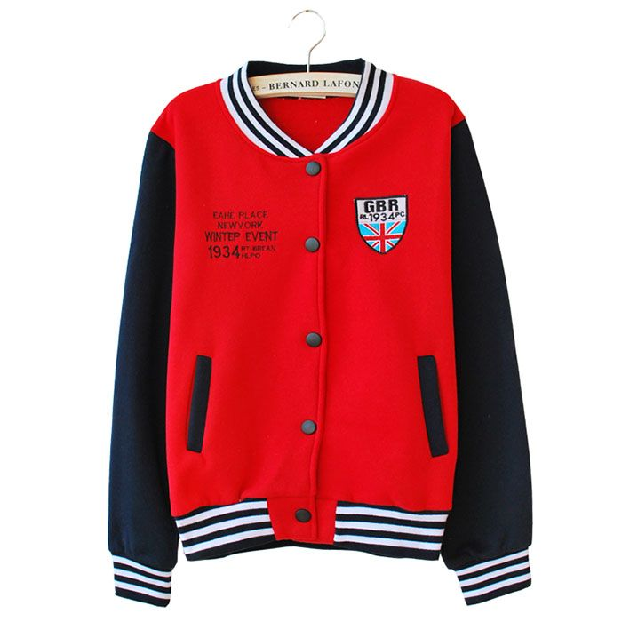 Girl's UK Flag Red Navy Varsity Baseball Jacket | Women's Jacket ...