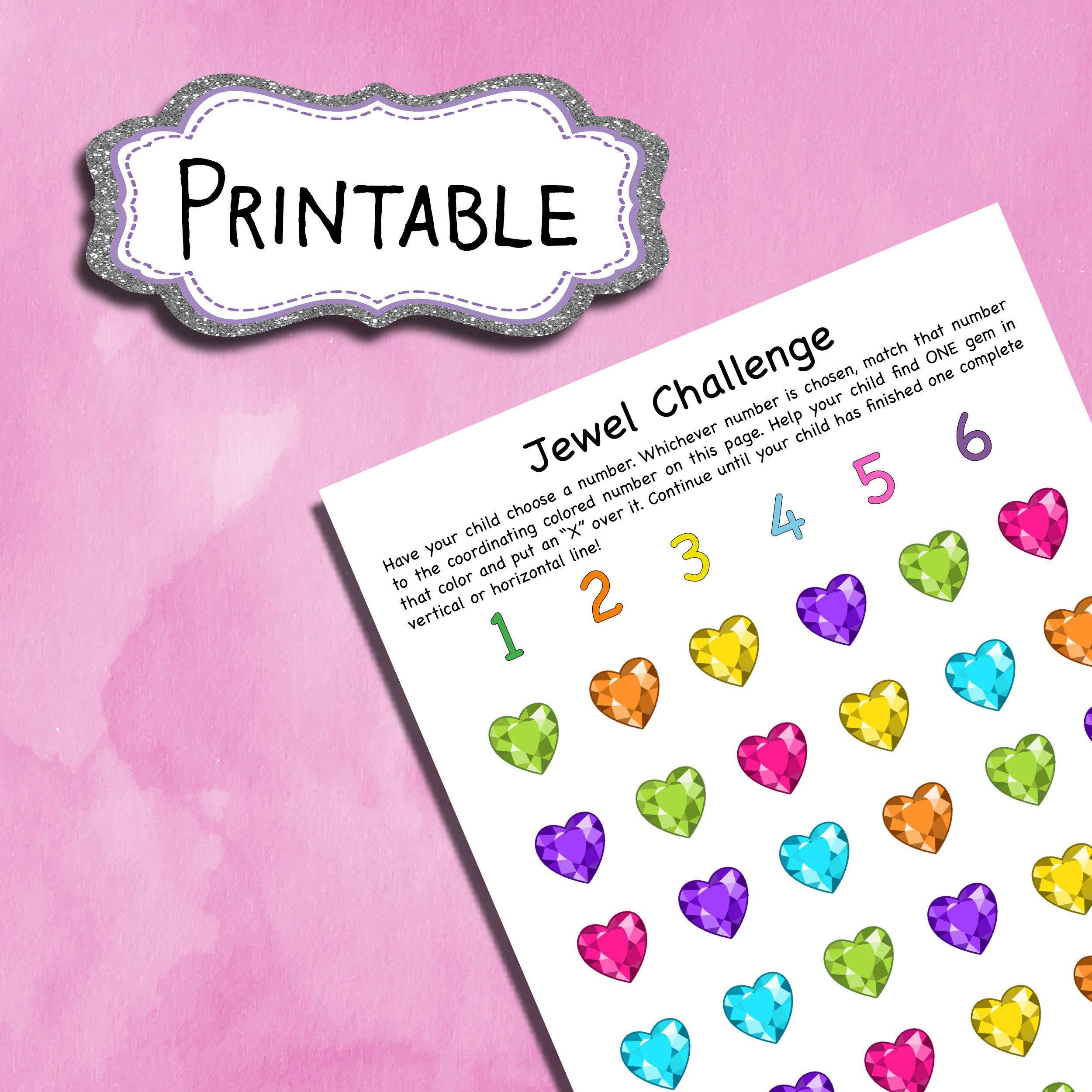 Jewel Challenge Printable Worksheet For Kids Princess Etsy Kids Worksheets Printables Worksheets For Kids Printable Worksheets