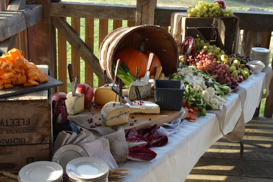 Waterfall Fruit And Veggie Displays: Fall Wedding For 160; Cheese, Veg, Fruit Display In