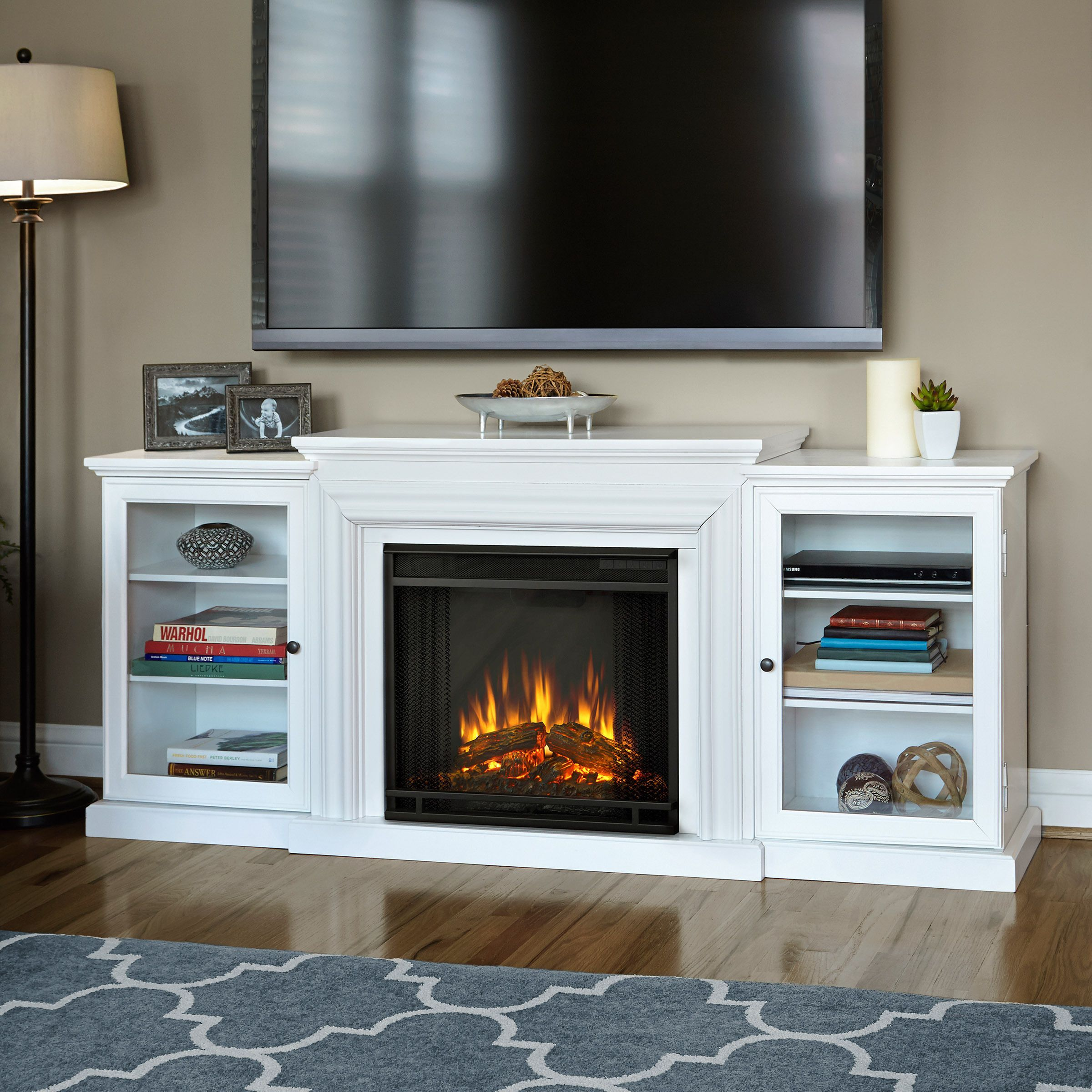 Frederick White Electric Entertainment Fireplace By Real Flame