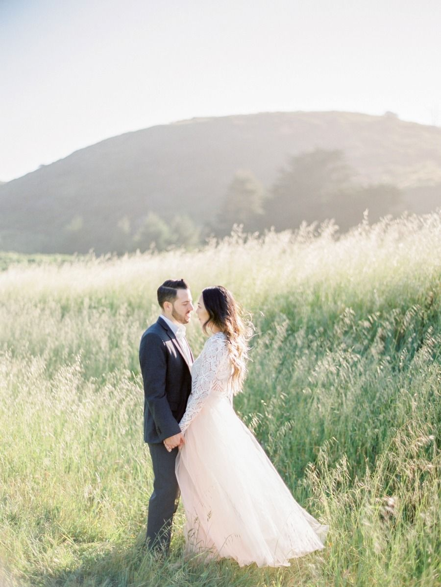 Space 46 maxi tulle skirt, engagement session, style me pretty, Coco Tran photography, field photoshoot, golden hour