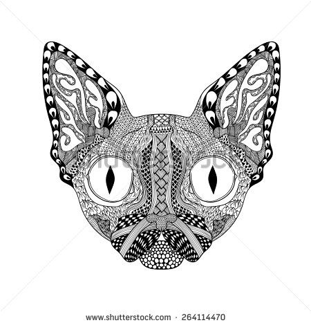 Zentangle stylized Cat Face tribal animal totem for adult anti