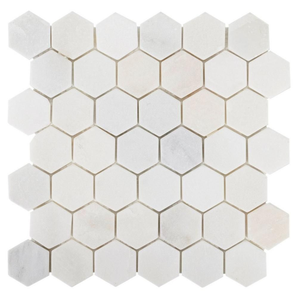Carrara White Hexagon Marble Mosaic Floor Decor Marble Mosaic Floor Marble Mosaic Marble Mosaic Tiles