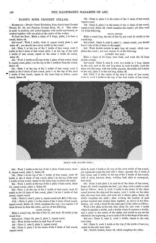 Raised Rose Crochet Collar pattern, 1854 | Crochet Collars | Pinterest