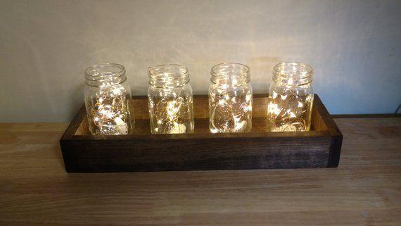 Wood Box With Lighted Mason Jars Wedding Decor Mason Jar Decor Fairy Light Wedding Table Centerpieces Mason Jar Lighting Wedding Table Decorations