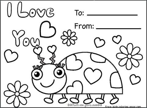 Printable Valentines day card coloring in card | applique ...