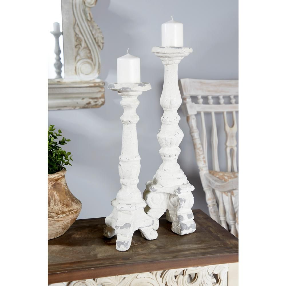 Litton Lane 17 In Tall Distressed White Decorative Antique Candle Holder 91140 Candle Holder Decor Candle Holders White Candle Holders