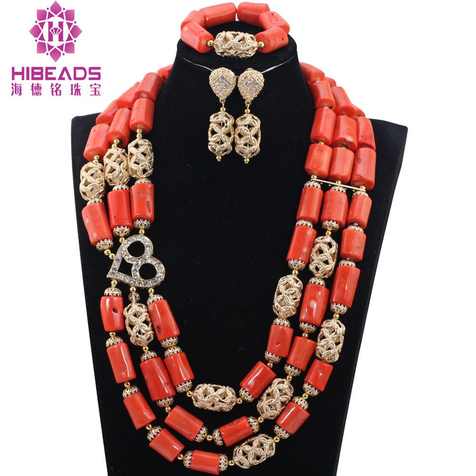 New style!Women Coral Jewelry Sets Exclusive Gold Accessory Bridal ...