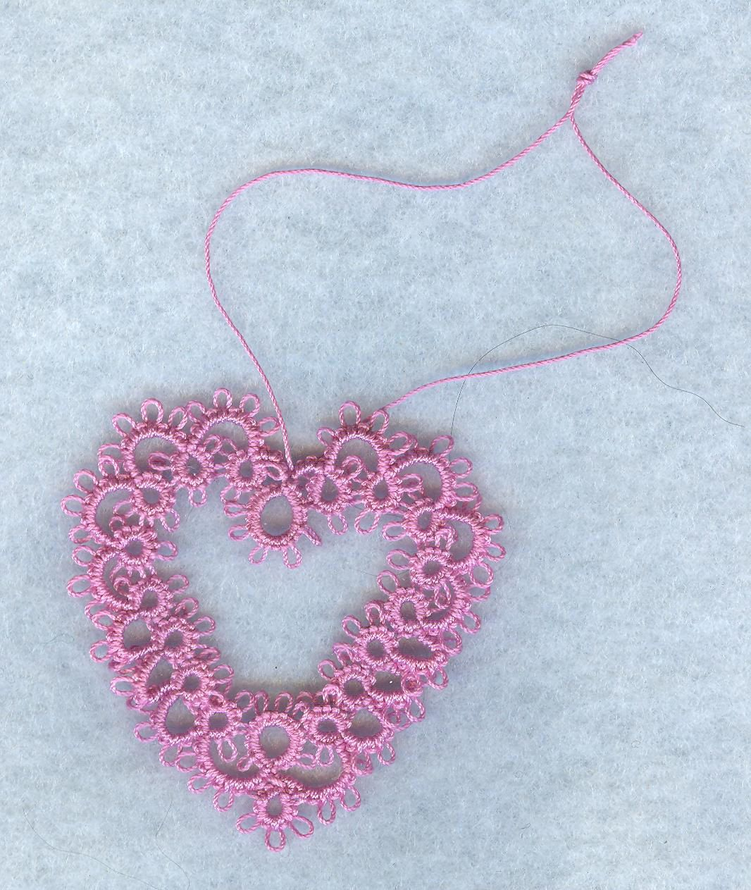 Shuttle Tatted lace heart in pink by donatajones on Etsy
