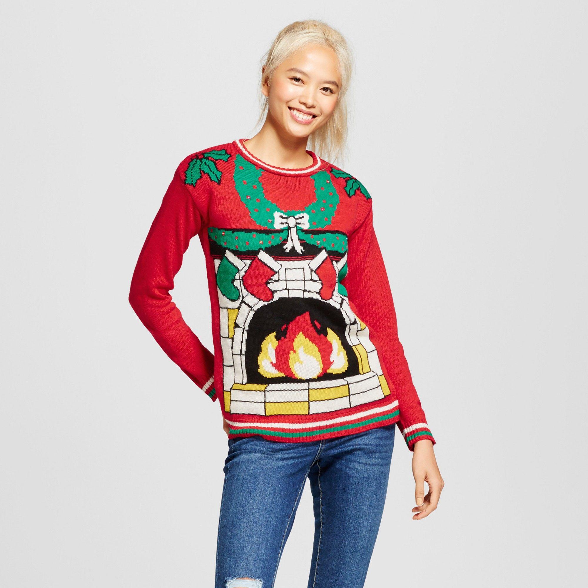440e8c1bd90 Women s Light-Up Fireplace Sweater - Xhilaration (Juniors ) Red S ...