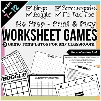 Worksheet Games Bingo, Template and Boxes - tic tac toe template