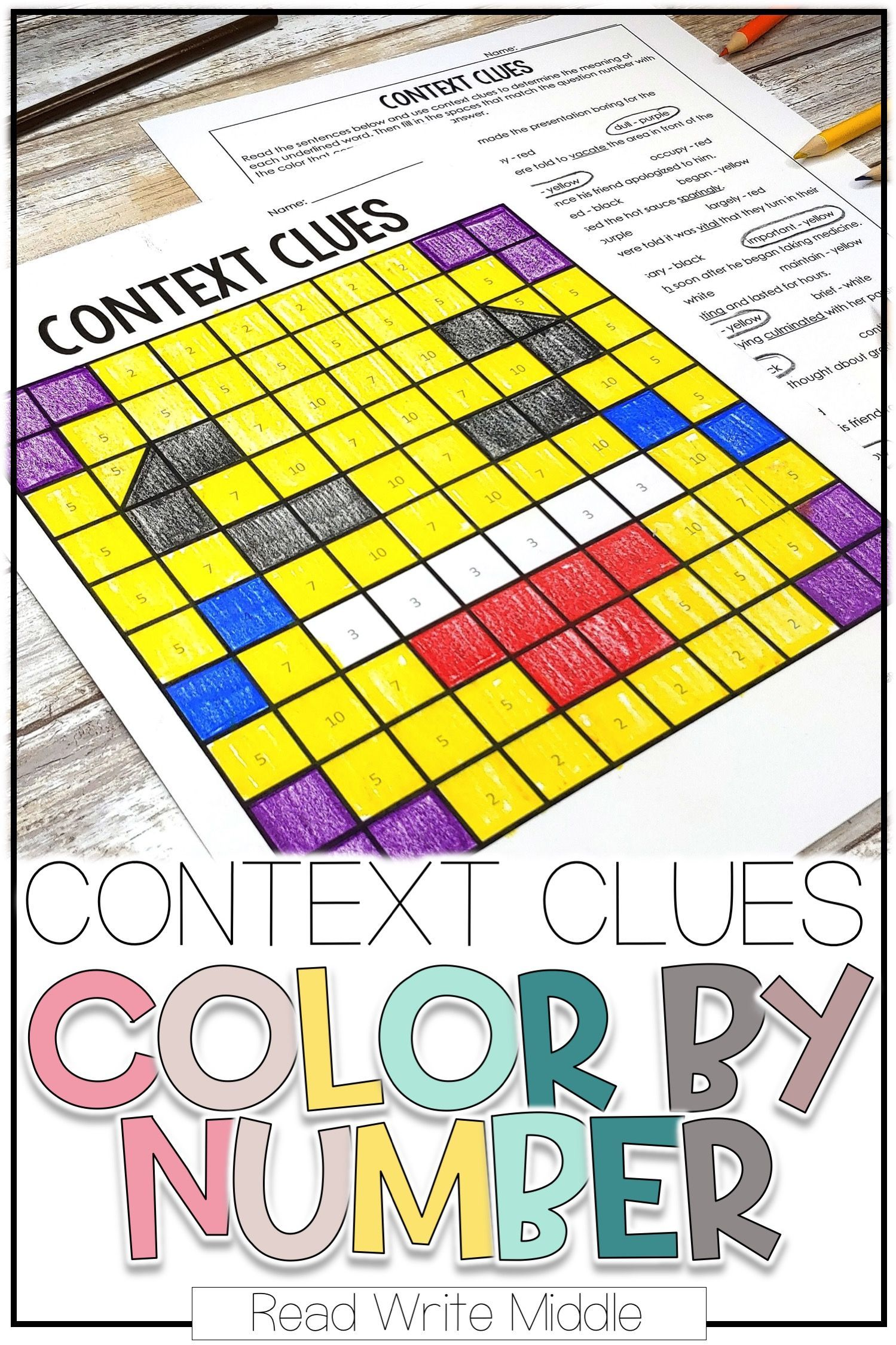 Context Clues Color By Number Bundle