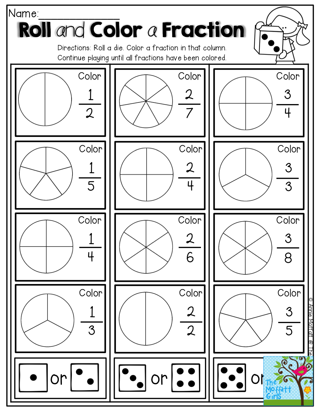 Roll And Color A Fractions So Many Fun Hands On And