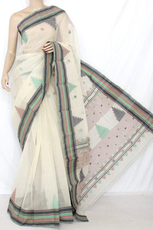 0f362d35d7 Off White Temple Border Handwoven Bengal Tant Cotton Saree (Without Blouse)  13091