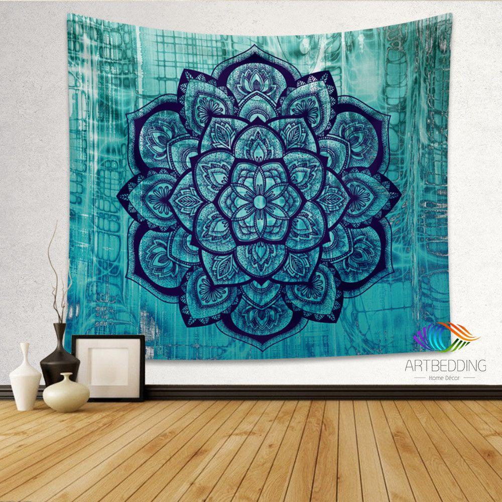 Boho Tapestry, Lotus Mandala tapestry wall hanging ...